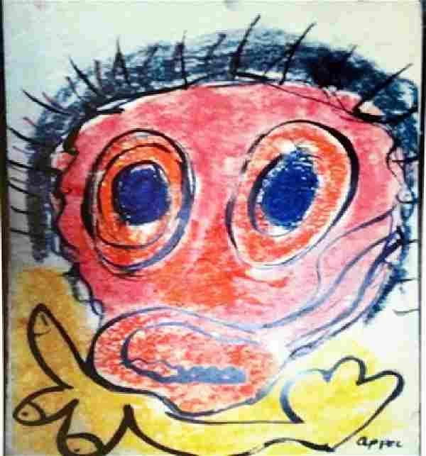 Karel Appel Oil on Paper - The Boy