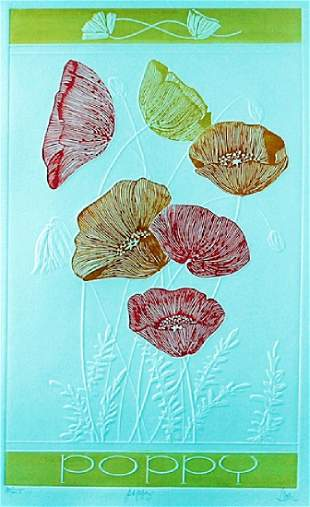 Embossed Lithograph Poppy after Hari Hockey