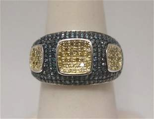 Beautiful Blue White Diamonds Silver Ring