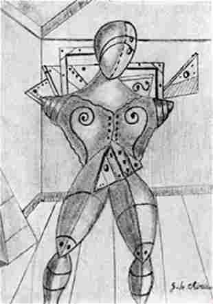 The Gladiator Graphite Drawing Giorgio De Chirico