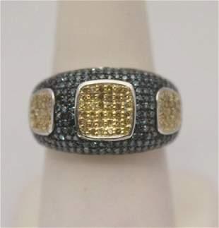 Gorgeous Blue Champagne Diamonds Silver Ring