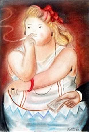 La Prostituta Pastel Drawing Fernando Botero