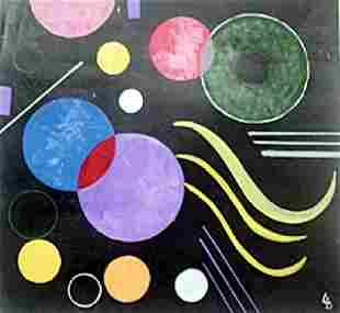 The Circles Oil Painting on Paper Wassily Kandinsky