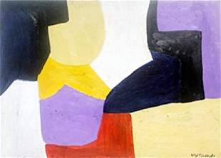 Composition II Pastel Drawing on Paper S Poliakoff