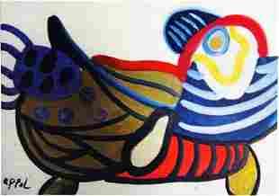 Karel Appel Oil on Paper Bird