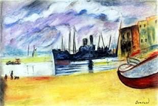 Blue Boat Pastel Drawing on Paper Pierre Bonnard