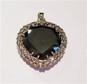 Stunning Black & White Diamond Heart Pendant
