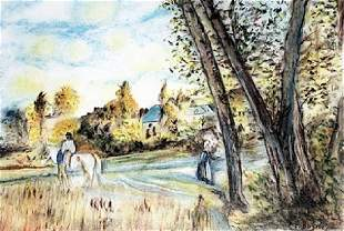 View of the Village Pastel Drawing Frederic Bazille
