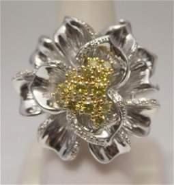 Lavish Flower Golden & White Diamonds Silver Ring