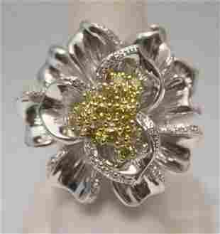 Lavish Flower Golden White Diamonds Silver Ring