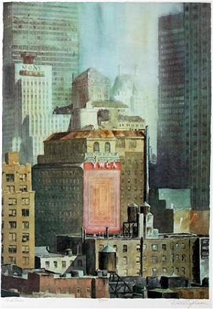 Lithograph Midtown after Rodell C Johnson