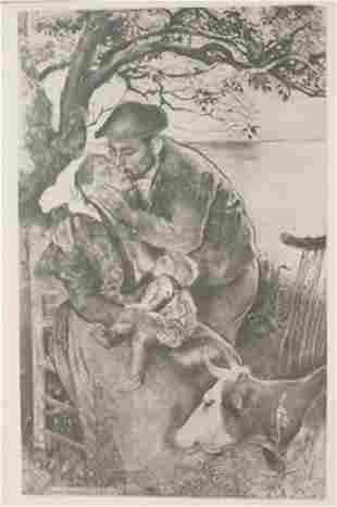 Breast feeding Lithograph Beau Soir