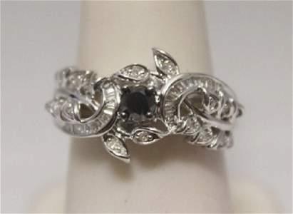 Exquisite Black, White & Baguette Diamonds  Silver Ring