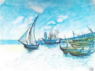 Coastal Scene Theo Van Rysselberghe Pastel On Paper