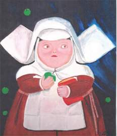 Sor Bernabhet - Fernando Botero - Pastel On Paper