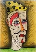 The Clown - Pastel Drawing on Paper - Bernard Buffet