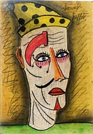 The Clown Pastel Drawing on Paper Bernard Buffet