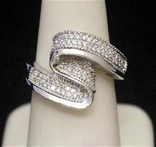 Fancy Silver Ring with Cluster Diamonds 155I