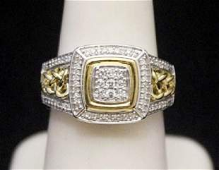 Fancy 14kt over Silver Ring with Diamonds 167I