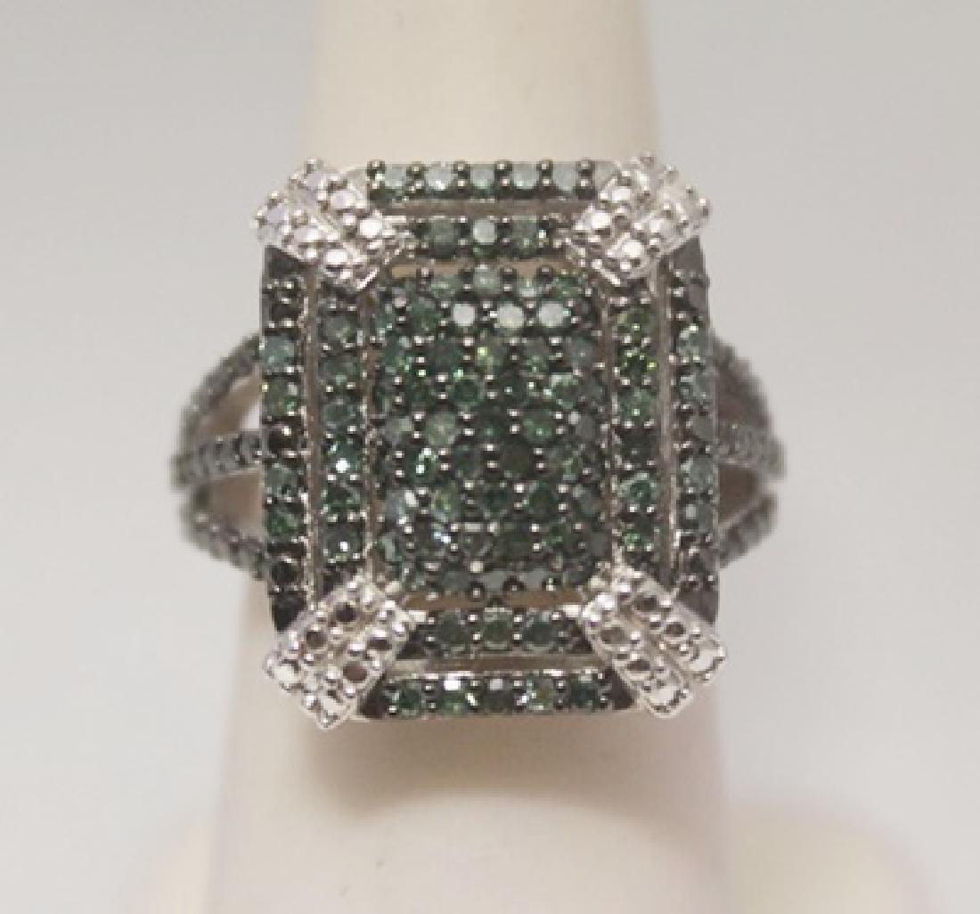 Gorgeous Green Diamonds Silver Ring