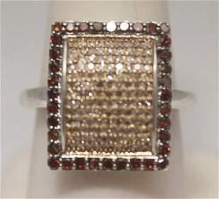 Dazzling Champagne Red Diamonds Silver Cape Ring