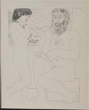 Sculptor and model window lithograph Picasso 2