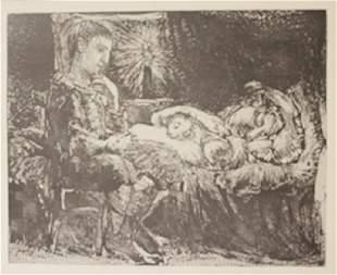 Boy waiting over sleeping women Lithograph
