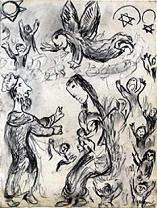 Graphite Drawing on Paper Marc Chagall