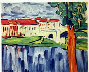 Chatou with red Tree Lithograph Vlaminck