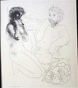 Sculptor and model overturned scyulpture Lithograph