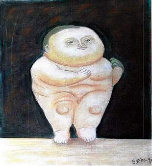 Little Baby Fernando Botero Pastel On Paper