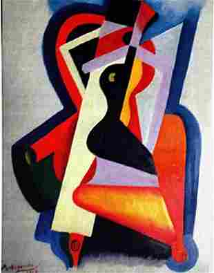Alexander Archipenko Oil on Paper Composition
