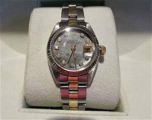 Women Date Just Diamond 18K Gold Rolex Watch