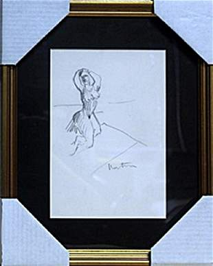 Pencil Drawing - Signed H. Matisse