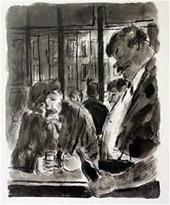 Drinks at the bar - Lithograph -  Lamb