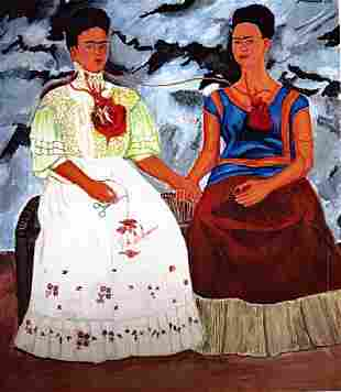 Two Fridas - Frida Kahlo - Oil On Paper