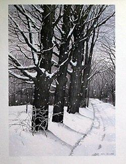 Lithograph - Snow Tracks - Helen Rundell