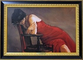 """Giclee On Canvas """"red Dress"""" After Michael Austin"""