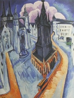 The Red Tower In Halle, 1915 - Ernst Ludwig Kirchner