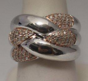 Fine 14kt Rose Gold Over Silver White Diamonds Ring