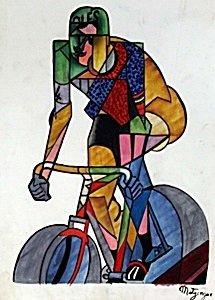 Cycling - Oil on Paper - Jean Metzinger