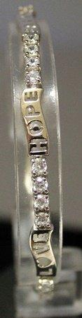 Fancy Sterling Silver Lab White Sapphire Bracelet.