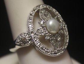 Gorgeous Broka Pearl & Diamonds Silver Ring