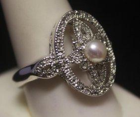 Beautiful Pearl & Diamonds Silver Ring
