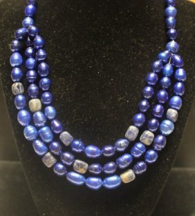 Beautiful Royal Blue Agate Necklace