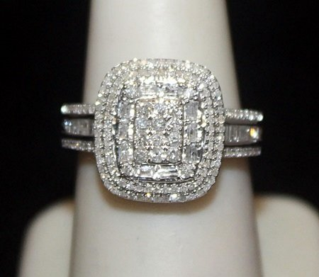 Lady's Fancy Silver Ring with Cluster Diamonds (144I)