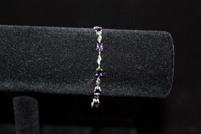 Elegant Amethyst Silver Bracelet
