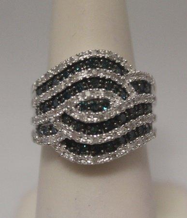 Stunning Blue & White Diamonds Silver Ring