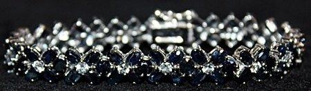 Gorgeous Sapphires Sterling Silver Bracelet.