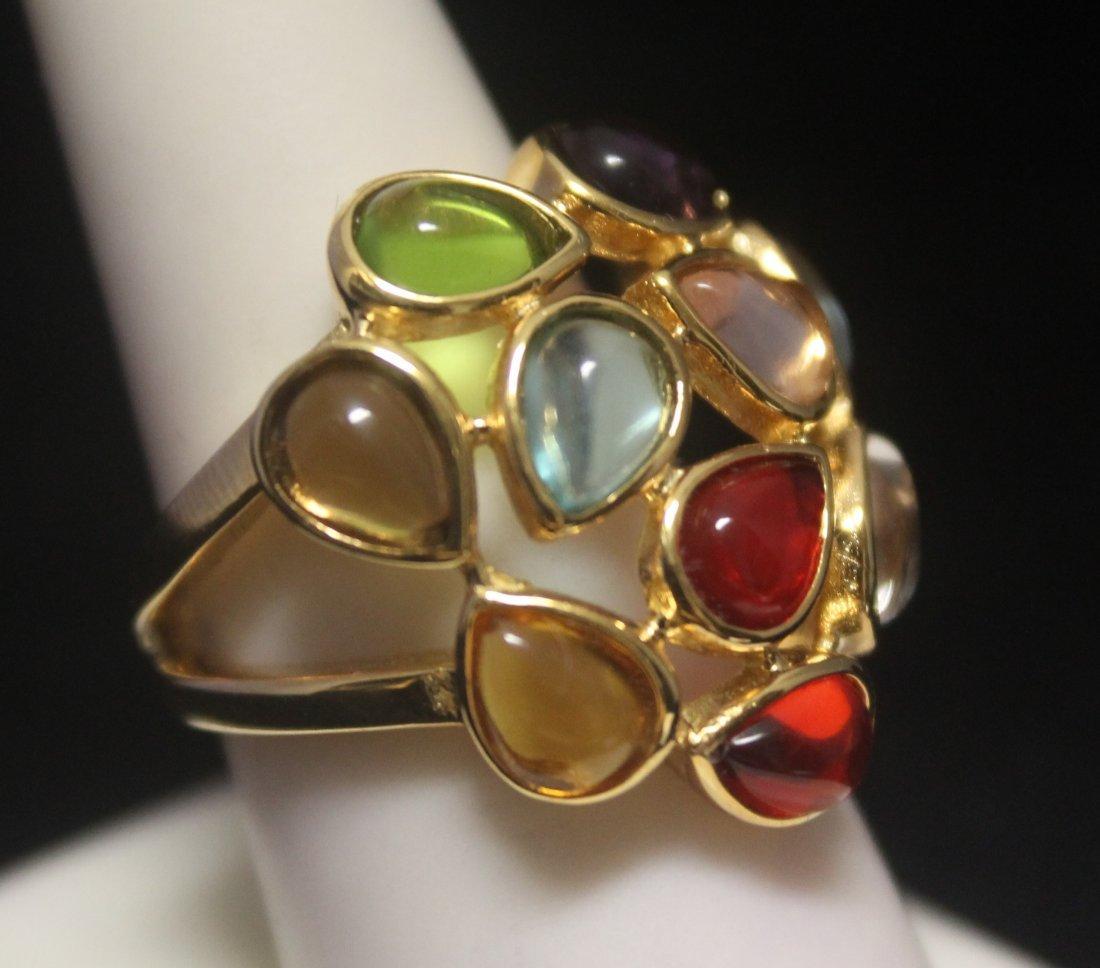 Elegant 14kt Gold over Silver Pear Shape Mix Stones
